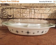 10% off Black & White Snowflake Divided Pyrex by GoneCountryJunkin