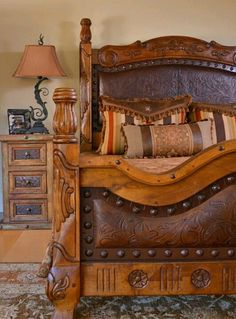 I want to do this to my bed.  BAILEY....are you ready for some leather work???