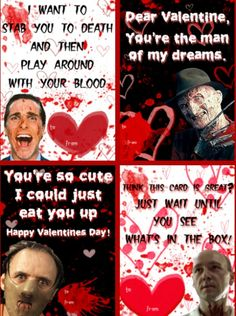 Horror Valentines - American Psycho, Nightmare on Elm Street, Silence of the Lambs, Seven