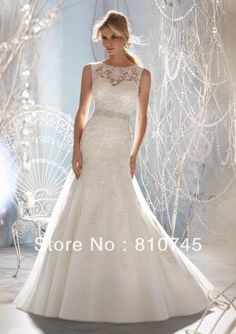 2013 New Arrival Georgeous Slash Neck Mermaid Wedding Dress Elegant Tulle and Lace Applique Bridal Gown SBR2013M1957-in Wedding Dresses from Apparel & Accessories on Aliexpress.com