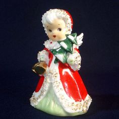 Lefton Christmas Angel With Tree Bell Figurine