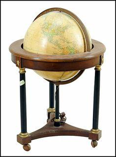 Replogle 16 Inch Heirloom Globe with Cherry Wood Stand : Lot 131-1097 #heirloom #globe #cherrywood
