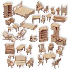 wooden barbie dollhouse furniture. Wooden Dollhouse Furniture Puzzle Set - Could Easily Be Used To Make Barbie D