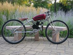 Simple and clean Custom Moped, Custom Bikes, Vintage Bicycles, Vintage Motorcycles, Gas Powered Bicycle, Push Bikes, Rat Bikes, Motorised Bike, Power Bike