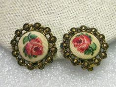 Vintage Rose Tapestry Clip Earrings 1930-1940's by stampshopgirl