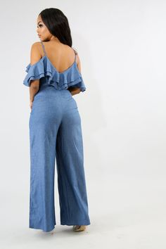 Down in the denim! Get your look together in this cute ruffled detail jumpsuit. This features a wide leg fit with a self tie belt and back zipper closure. This has no stretch. - Cotton - Rayon - Model is wearing a Small - Fits most true to size Wish Clothing, Off The Shoulder, Shoulder Straps, Denim Jumpsuit, African Dress, Boutique Clothing, Stretch Fabric, Wide Leg, Lisa