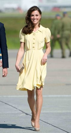The Duchess of Cambridge stunned in a sweet yellow silk crepe Jenny Packham dress and her favorite L.K.Benn...