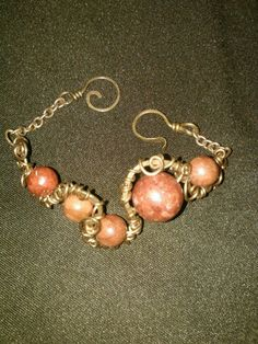Copper and red coral beads