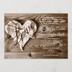 Rustic Country Barn Wood Love Heart Wedding Invite Western Wedding Invitations, Custom Invitations, Colored Envelopes, White Envelopes, Envelope Liners, Love Heart, Barn Wood, Invite, Rustic