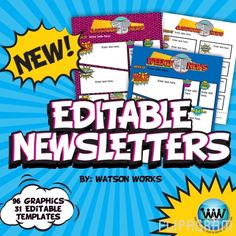 Want to WIN our brand new Superhero/Pop Art Classroom Newsletter Graphics