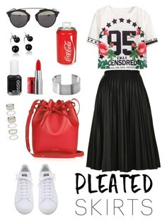 """""""Untitled #236"""" by fradoria ❤ liked on Polyvore featuring Topshop, adidas, Forever 21, Christian Dior, Mansur Gavriel, Essie, The Body Shop, Koolatron and pleatedskirts"""