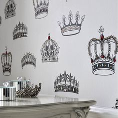 Royal Wallpaper! - Crowns, Coronets and Tiara's Graham & Brown Wallpaper with Selfsticking Jewels! #GrahamBrown #Wallpaper
