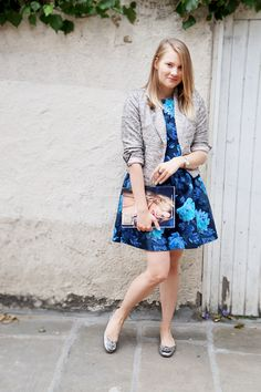Love pairing feminine, flower dresses with metallic blazers, ballet flats and rings to create a beautiful contrast. This cute House of Hackney dress goes perfectly with my Zara blazer and Tory Burch Minnie flats