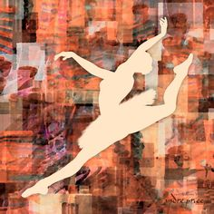 One of a collection of forty-two highly detailed ballerina silhouettes over colorful watercolor abstract backgrounds performing ballet moves. - http://www.ballerinaart.net/Ballerina-Abstracts-Gallery.html Prints are available in various sizes up to 48 x 48 inches including canvas. See all available ballerina, ballet dance posters and large canvas art at http://www.ballerinaart.net