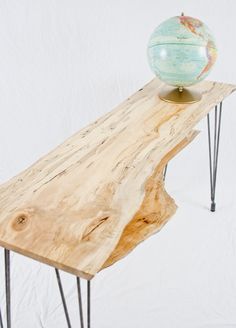 Reclaimed Spalted Maple Media Console/TV Stand  OR Console Table/Entryway Table/Sofa Table  Rustic Mid-century  Adjustable Raw Steel Hairpin Legs    A true stunner! Simple, rich, deep neutral colors with some really interesting motion down the center of the slab. Two live edges! It has some interesting dark grain lines that look like someone took a pen and drew on the slab. This is actually a natural occurrence called spalting which adds some unique transition and coloration to the slab.
