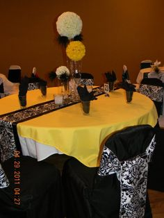 Black white and yellow wedding