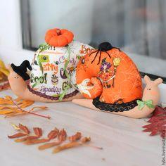 Купить Улитки Тильда к Хэллоуину - рыжий, Хэллоуин, halloween, holidays, Праздник, октябрь, тильда