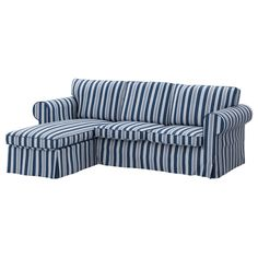 EKTORP Cover for loveseat with chaise - Åbyn blue - IKEA