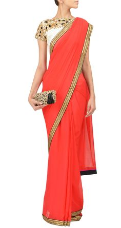 Option 2 for after Snan. Simple Elegance: Tisha Saksena - Tomato red silk chiffon saree with hand embroidered gota Saris, Indian Attire, Indian Wear, India Fashion, Asian Fashion, Indian Dresses, Indian Outfits, Mehndi, Bridesmaid Saree