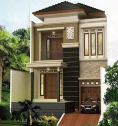 Most popular modern dream house exterior design ideas 00027 2 Storey House Design, Duplex House Design, House Front Design, Modern House Design, Casa Mix, Modern Minimalist House, Townhouse Designs, Dream House Exterior, Facade House