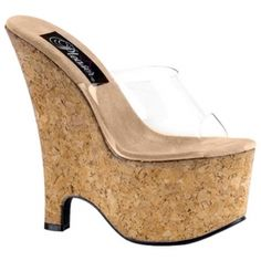 Clear Slip On Cork Platform Wedges Cheap Wedges, Brand Name Shoes, Cork Wedges, Brown Leopard, Sexy High Heels, Slip On Shoes, Wedge Sandals, Shoe Boots, Footwear