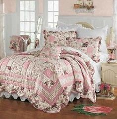 Romantic Shabby Chic Decor | SHABBY CHIC STYLE ROMANTIC FLORAL HANDCRAFTED COTTON QUILT W/ SHAM(S