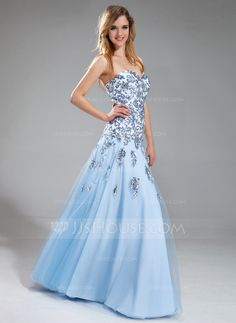 A-Line/Princess Sweetheart Floor-Length Satin Tulle Prom Dress With Appliques Sequins (018018822)