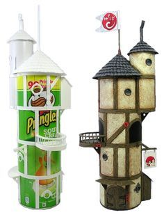 Recycle Reuse Renew Mother Earth Projects: How to make Fairy Houses from Recycled Materials. Some great ideas here! Was hoping for instructions for painting the pringles boxes.my fairy house looks too clean. Pringles Can, Fairy Houses, Diy Fairy House, Faeries, Craft Projects, Craft Ideas, Project Ideas, Decorating Ideas, Arts And Crafts