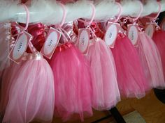 Tutus are a wonderful Princess Birthday Party Favor! Add a special gift tag and some ribbon and tulle for an easy--yet stunning decorative touch. #princess #tutu #princessbirthdayparty