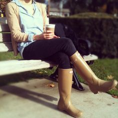 Lattes and Hunter Boots. Pick your fav color at Roots Boutique.