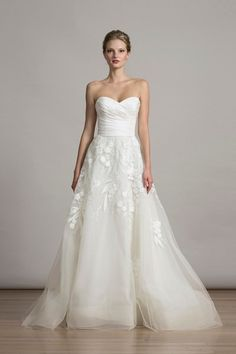 """Romantic wedding dress idea - A-line gown with   Italian """"Orchids"""" embroidered tulle and strapless neckline. Style 6877 by @liancarlodesign. Find more wedding dress inspiration by @liancarlodesign on @weddingwire!"""