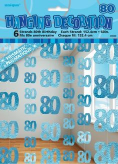 Image detail for -80th Birthday Blue Glitz Six String Party Decoration :: Party Kiosk