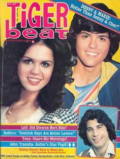 The Osmonds and John Travolta on the cover of Tiger Beat, April 1976. Loved Tiger Beat~!!!.