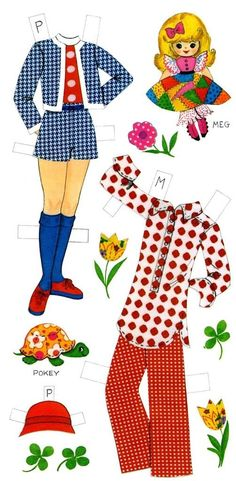 prints and polka dots push-out dolls outfits, 1973
