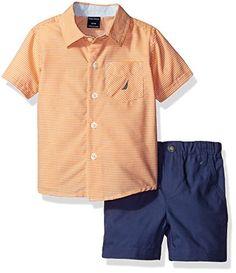 Nautica Boys' Short Sleeve Mini Stripe Button Down Shirt and Pull on Short Set, Orange, 18 Months Baby Boy Clothes