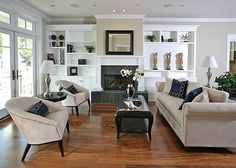 I like the Asymmetrical built-ins AND the fact that a TV is not the focal point!
