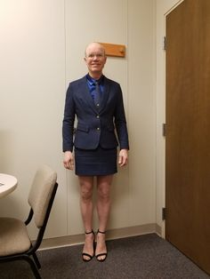 Blue pin stripe mini skirt suit (AliExpress), blue satin silk shirt ( AliExpress