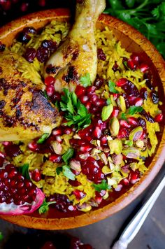 This colorful Iranian dish is full of unique flavors! With juicy honey glazed chicken pomegranate pistachios dried cranberries fresh parsley and lots of seasonings! Iranian Dishes, Iranian Cuisine, Iranian Food, Soup Recipes, Chicken Recipes, Cooking Recipes, Dessert Recipes, Icing Recipes, Carrot Recipes