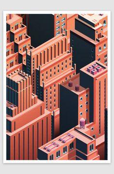 City Life - Isometric Cityscape   Abduzeedo Design Inspiration