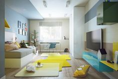cartoon (Adventure Time)-inspired-interior. bright splashes of yellow and teal. Inspirationally Modern Interiors From Pavel Voytov