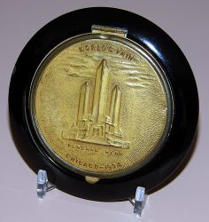 Vintage Powder Compact, Souvenir of the Century of Progress Exposition, Chicago World's Fair, Measures 3 Inches in Diameter, Dated 1934.