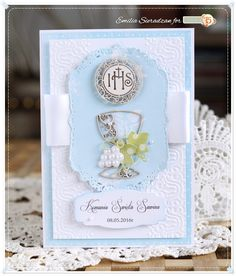 Scrapbooking, handmade cards and papercrafts by Lady E. Vintage, chipboards, shabby and more. Handmade Greeting Card Designs, Handmade Cards, Confirmation Cards, Baptism Centerpieces, First Holy Communion, Christening, Holi, Wedding Invitations, Projects To Try