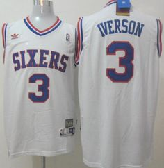 Philadelphia 76ers 3 Allen Iverson White Throwback NBA Jerseys