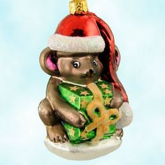 Christopher Radko Mouse Wrap Christmas Ornaments, 1998 - a creature WAS stirring afterall!