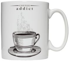 "COFFEE ADDICT PORCELAIN MUG If you're like me you NEED your coffee! Some may call you a coffee addict. Well now you have the mug that says it for them! This brilliant white porcelain mug features a vintage inspired coffee illustration with ""Coffee Addict"" above it. $10.00 #housewares #mug #coffeemug #coffee #coffeeaddict #vintageinspired"