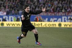 Messi after his moment of magic vs. Atletico in 2012.
