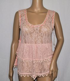 NEW Free People Pink Lace Sleeveless Tiered Tank Top Women's XS  #FreePeople #TankCami