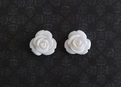 White Rose Flower Girly Plugs  4g 2g 0g 00g by ryarr on Etsy