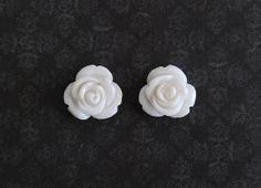 White Rose Flower Girly Plugs  4g 2g 0g 00g by ryarr on Etsy