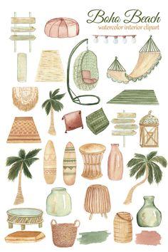 Planner Bullet Journal, Tropical Beach Houses, House Clipart, Clip Art, Calendar Design, Journal Stickers, Scene Creator, Jolie Photo, Watercolor Illustration